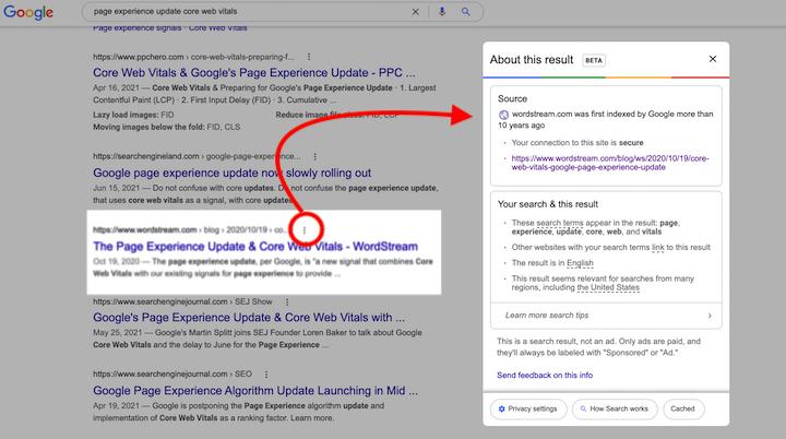 Пример алгоритма Google About this result