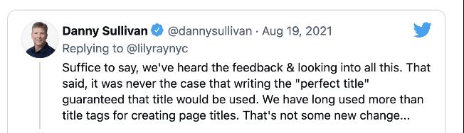 danny sullivan's tweet acknowledging the google page rewrite