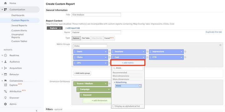 customized cost analysis report creation in google analytics