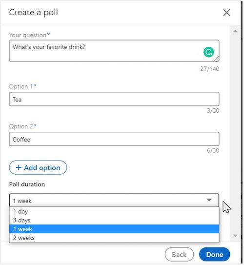 poll settings on linkedin