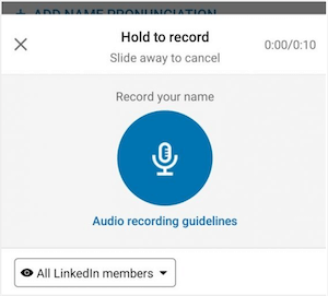 record name screen on linkedin