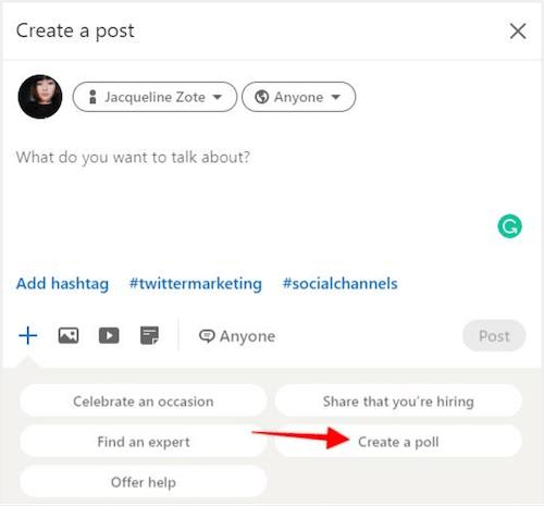 create poll tab for linkedin company page