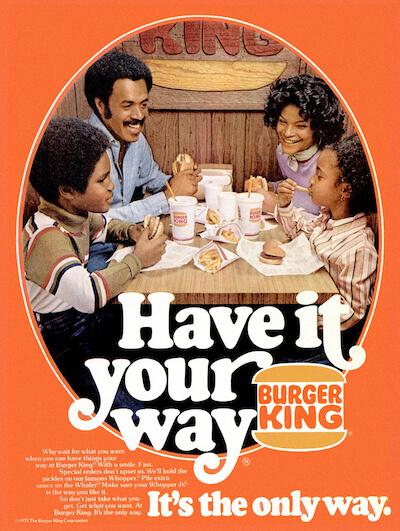 marketing and advertising slogan examples: burger king vintage ad
