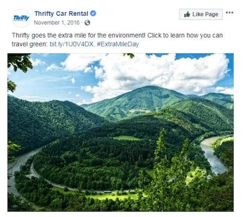 november marketing ideas: extra mile day facebook post