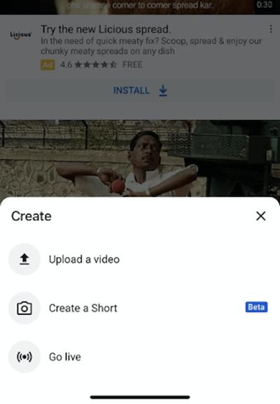 youtube shorts camera view