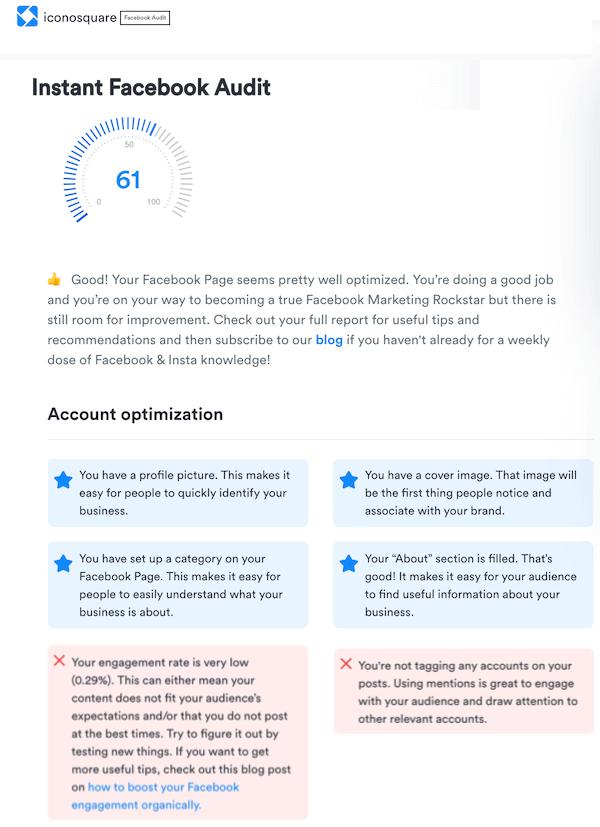 social media optimization for facebook—iconosquare audit results