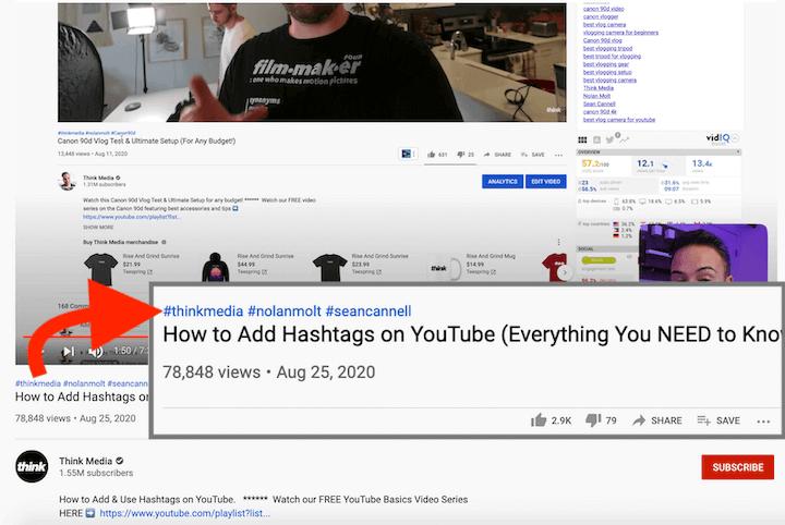 social media optimization on youtube—hashtags above video title